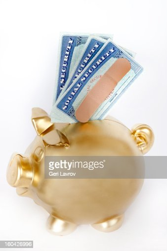 Social security cards and piggy bank : Foto stock