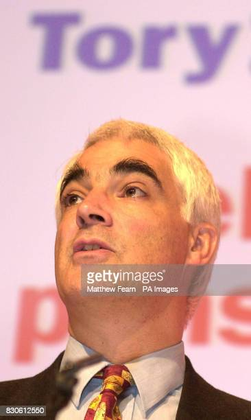 Social Security secretary Alistair Darling speaks to the media during a Labour Party press conference in London in the run up to the June 7 general...