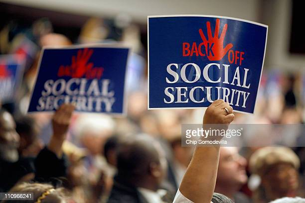 Social Security supporters attend a rally in the Dirksen Senate Office Building on Capitol Hill March 28 2011 in Washington DC Democratic senators...