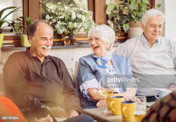 Social Seniors Group Of Mature Friends Enjoying Outdoor Meal In Backyard
