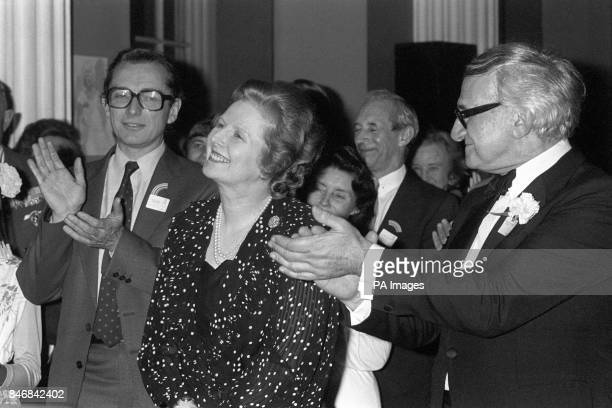 Social Services Secretary Norman Fowler Prime Minister Margaret Thatcher and Professor Neville Butler professor of child health at the University of...