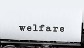 Welfare written on old typewriter. Copyspace