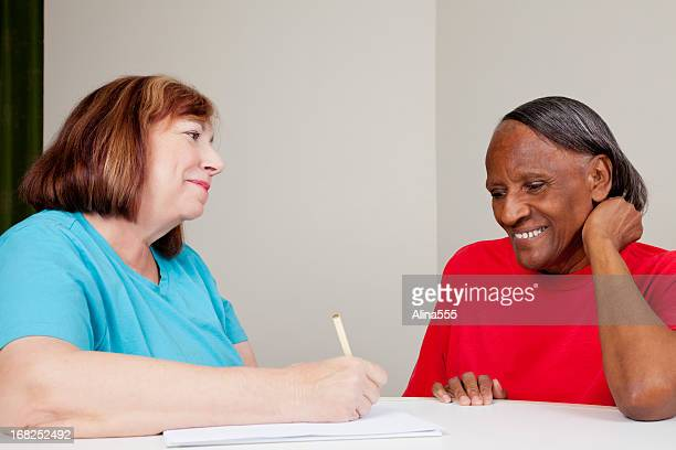 Social worker with african american woman