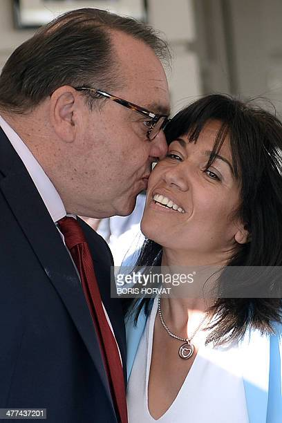 Socialist candidate for the upcoming mayoral election in Marseille Patrick Mennucci kisses Samia Ghali French Socialist Party Senator and...
