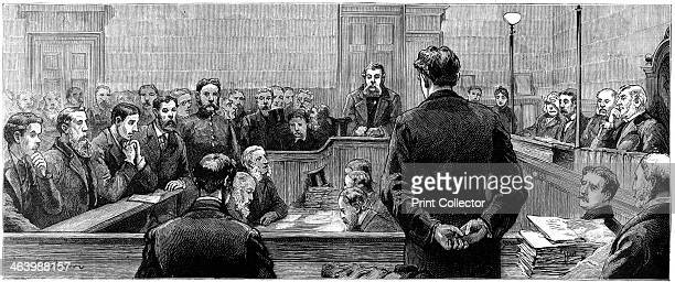 Socialist leaders at Bow Street police court following riots in the westend of London 19th century From left to right Mr Williams Mr Hyndman Mr...