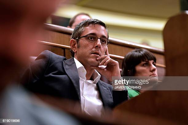 Socialist MP Eduardo Madina attends the parliamentary investiture vote for a prime minister at the Spanish Congress on October 29 in Madrid Spain...