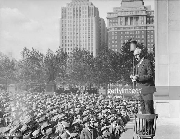 Socialist Nominee Speaks in Philadelphia Refused a permit to speak near the City Hall Norman Thomas Socialist candidate for the presidency is seen...
