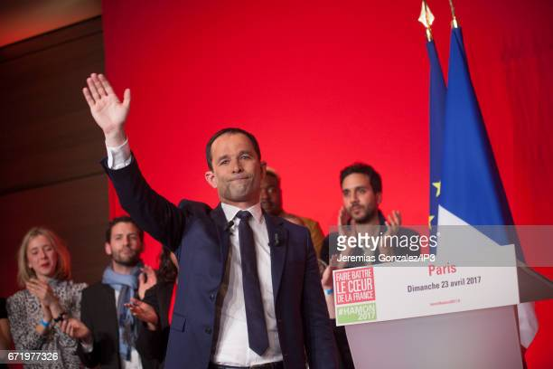 Socialist Party candidate Benoit Hamon delivers a speech after projected results suggest that he has been defeated in the French Presidential...