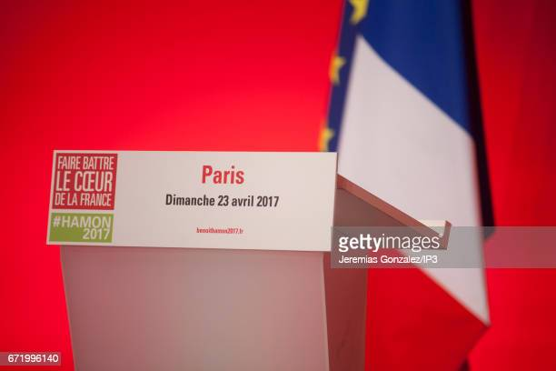 Socialist Party candidate Benoit Hamon holds a conference after projected results suggested he has been defeated in the French Presidential Elections...