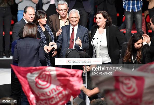 Socialist party candidate for the regional elections in the IledeFrance region and President of the French National Assembly Claude Bartolone head of...