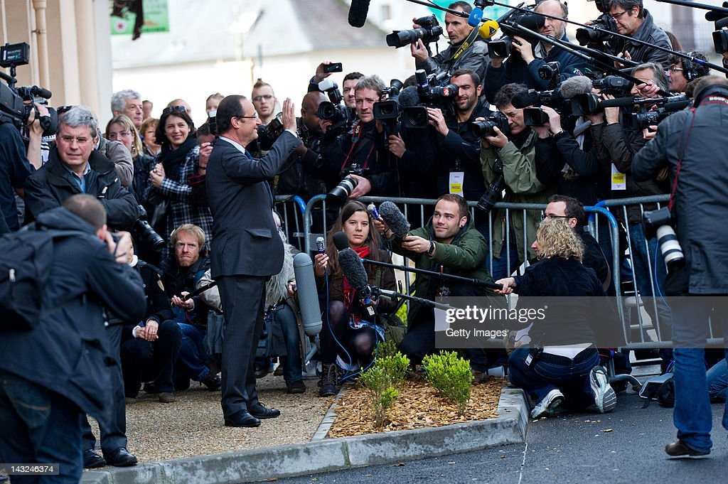 Socialist Party candidate Francois Hollande arrives to cast his vote during the first round of the 2012 French Presidential election on April 22 2012...