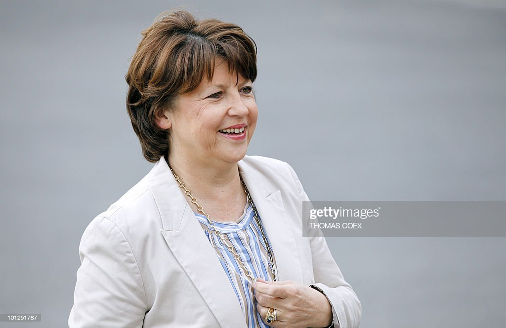 Socialist party leader Martine Aubry arrives to the French Socialist Party national convention on May 29, 2010 in La plaine Saint Denis, outside Paris. Aubry criticized on May 26, 2010 the government plans to raise the retirement age from the current 60 years as 'not only unfair but ineffective.'