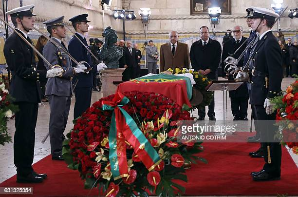 Socialist Party President Carlos Cesar accompanied by Portuguese poet and politician Manuel Alegre and Portuguese politician Miranda Calha pay...