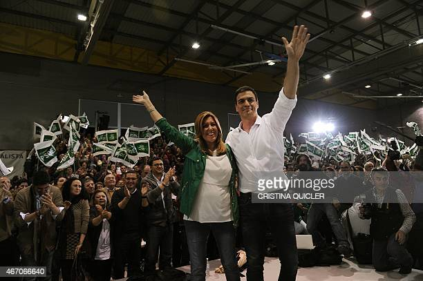 Socialist Party Secretary General Pedro Sanchez and President of regional government of Andalusia and PSOE candidate Susana Diaz wave during the...