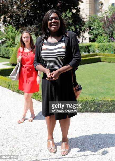 Socialist Party's elected Member of Parliament Laetitia Avia arrives on June 19 2017 at the French National Assembly in Paris for the welcoming of...