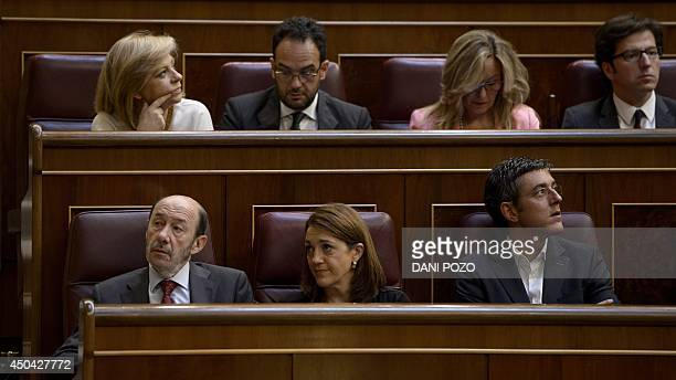 Socialist Party's leader Alfredo Perez Rubalcaba Soraya DIez and Eduardo Madina PSOE deputy sit in Spain's lower house of parliament on June 11 2014...