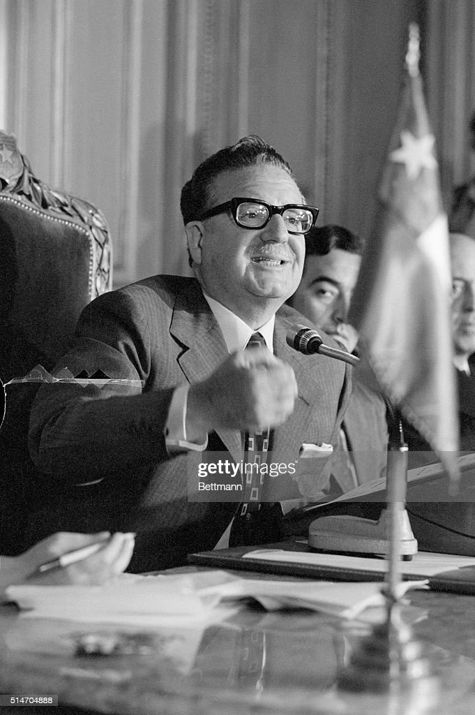 Socialist President Salvador Gossens Allende of Chile holds a press conference at the Government House in Santiago. His government showed surprising strength in the 1973 congressional elections, picking up ten new legislative seats and defeating an opposition attempt to gain sufficient control of Parliament to impeach him.