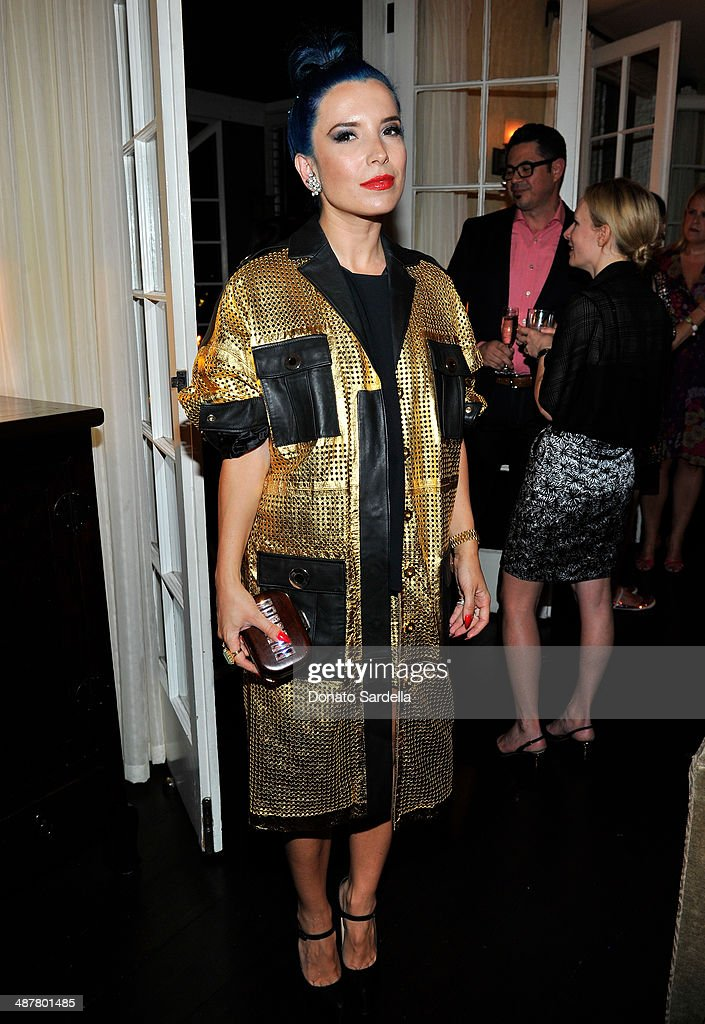 Socialite Autrea Thomollari wearing Emanuel Ungaro attends A private dinner In honor of Fausto Puglisi of Emanuel Ungaro hosted by Barneys New York at Chateau Marmont on May 1, 2014 in Los Angeles, California.