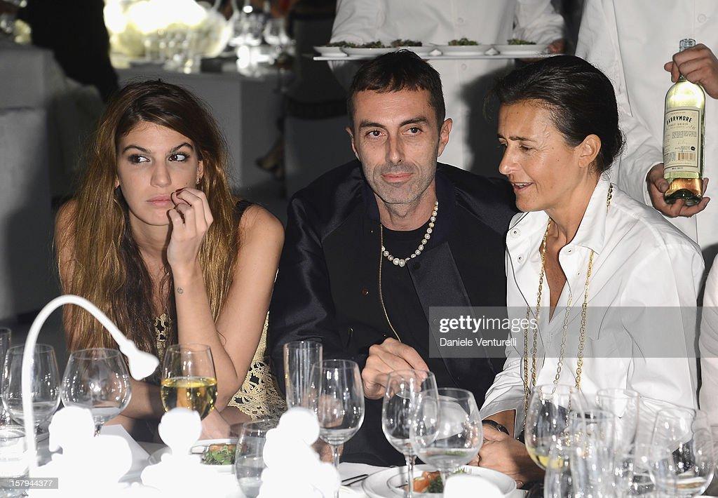 Socialite Bianca Brandolini, designer Giambattista Valli and Francesca Ruffini attend a private dinner celebrating Remo Ruffini and Moncler's 60th Anniversary during Art Basel Miami Beach on December 7, 2012 in Miami Beach, Florida.