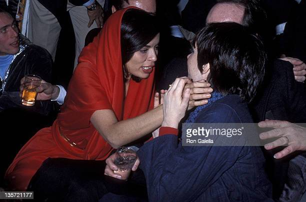 Socialite Bianca Jagger and actress/singer Liza Minnelli attend Studio 54's New Year's Eve Party on December 31 1977 at Studio 54 in New York City