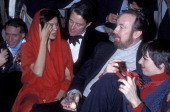 Socialite Bianca Jagger fashion designer Halston producer Jack Haley Jr and actress/singer Liza Minnelli attend Studio 54's New Year's Eve Party on...