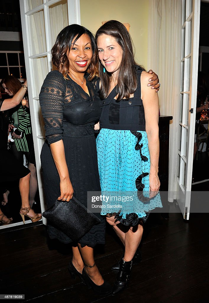 Socialite Brigette Romanek and actress Katherine Ross attends A private dinner In honor of Fausto Puglisi of Emanuel Ungaro hosted by Barneys New York at Chateau Marmont on May 1, 2014 in Los Angeles, California.