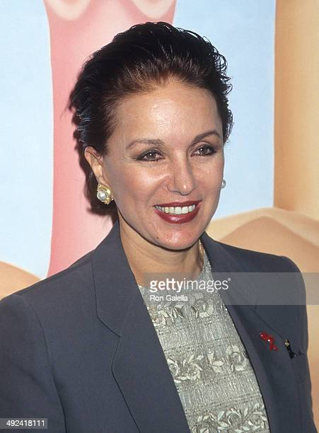 Socialite Della Rounick attends the opening night exhibition of her artwork 'Hermaphrodite' on May 7 1997 at the New World Art Center in New York City