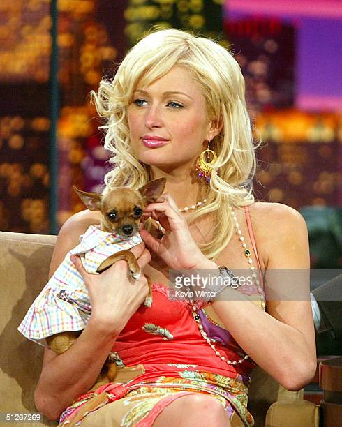 Socialite heiress Paris Hilton with her dog Tinkerbell appears on 'The Tonight Show with Jay Leno' on September 6 2004 at the NBC Studios in Burbank...