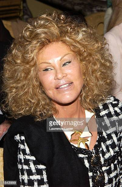 Socialite Jocelyne Wildenstein arrives for the Dennis Basso fashion show May 20 2002 in New York City