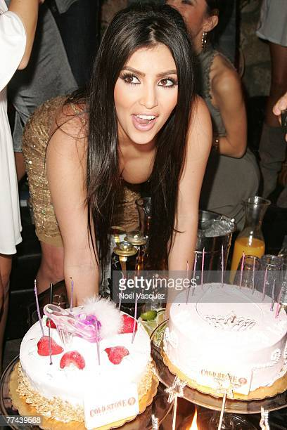Socialite Kim Kardashian blows out her birthday cake candles at her birthday party at Les Deux on October 21 2007 in Los Angeles California