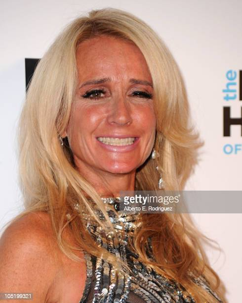 Socialite Kim Richards arrives at Bravo's 'The Real Housewives of Beverly Hills' series party on October 11 2010 in West Hollywood California