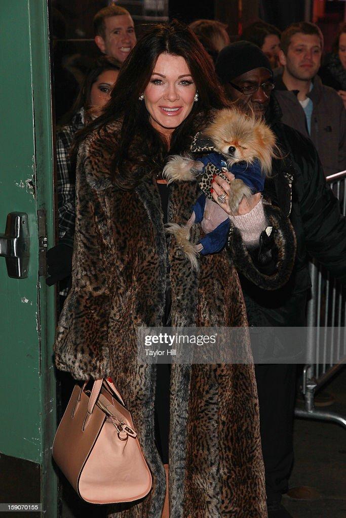 Socialite Lisa Vanderpump and Pomeranian Giggy Vanderpump visit ABC News' 'Good Morning America' Times Square Studio on January 7, 2013 in New York City.