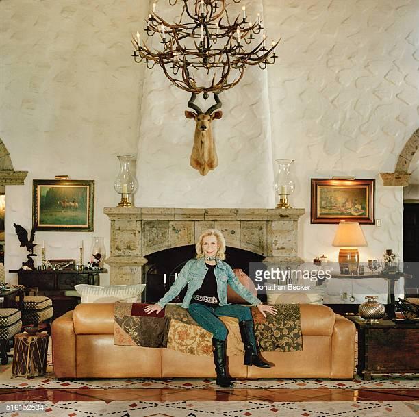 Socialite Lynn Wyatt is photographed in her living room for Vanity Fair Magazine on October 3 2015 at her ranch Tasajillo in Duval County Texas...