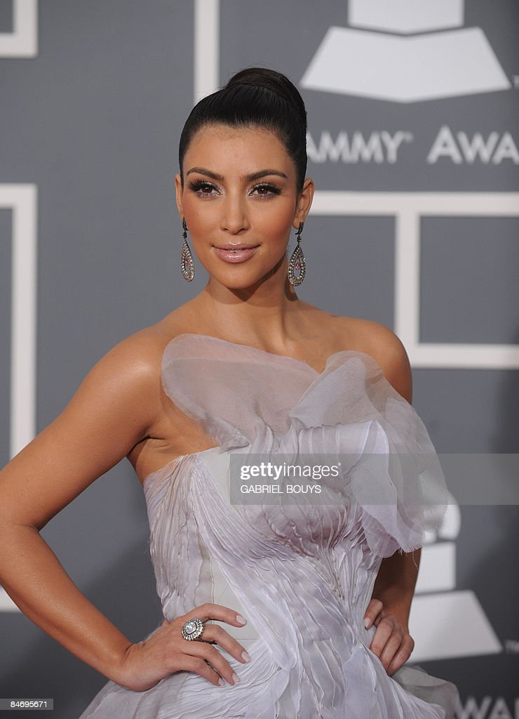 Socialite, model, actress, apparel retailer and television personality <a gi-track='captionPersonalityLinkClicked' href=/galleries/search?phrase=Kim+Kardashian&family=editorial&specificpeople=753387 ng-click='$event.stopPropagation()'>Kim Kardashian</a> arrives for the 51st Annual Grammy Awards at the Staples Center in Los Angeles on February 8, 2009. AFP PHOTO / GABRIEL BOUYS