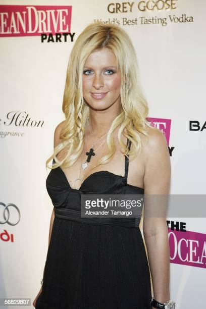 Socialite Nicky Hilton makes an appearance at the Ocean Drive Magazine 13th anniversary party at St Regis Resort on February 11 2006 in Miami Beach...
