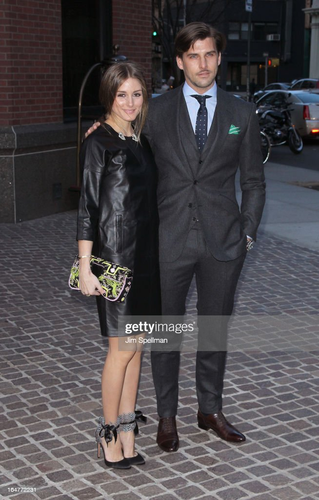 Socialite Olivia Palermo and Johannes Huebl attend The Cinema Society & Jaeger-LeCoultre screening of Open Road Films' 'The Host' at Tribeca Grand Hotel on March 27, 2013 in New York City.
