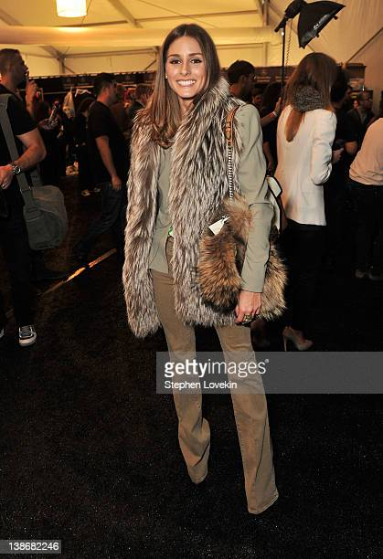 Socialite Olivia Palermo poses backstage at the Rebecca Minkoff Fall 2012 fashion show during MercedesBenz Fashion Week at The Theatre at Lincoln...
