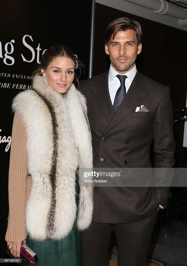 Socialite <a gi-track='captionPersonalityLinkClicked' href=/galleries/search?phrase=Olivia+Palermo&family=editorial&specificpeople=2639086 ng-click='$event.stopPropagation()'>Olivia Palermo</a>, wearing Ferragamo Fall/Winter Collection, and model <a gi-track='captionPersonalityLinkClicked' href=/galleries/search?phrase=Johannes+Huebl&family=editorial&specificpeople=5696811 ng-click='$event.stopPropagation()'>Johannes Huebl</a> arrive at Ferragamo and Stefano Tonchi Present A VIP Screening of Premier Film Walking Stories on November 6, 2013 in New York City.