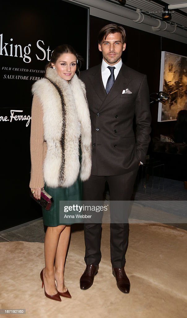 Socialite Olivia Palermo, wearing Ferragamo Fall/Winter Collection, and model Johannes Huebl arrive at Ferragamo and Stefano Tonchi Present A VIP Screening of Premier Film Walking Stories on November 6, 2013 in New York City.