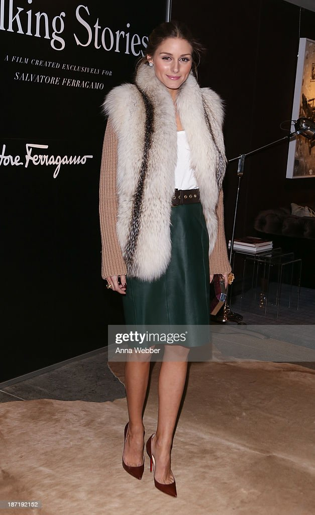 Socialite <a gi-track='captionPersonalityLinkClicked' href=/galleries/search?phrase=Olivia+Palermo&family=editorial&specificpeople=2639086 ng-click='$event.stopPropagation()'>Olivia Palermo</a> wears Ferragamo Fall/Winter Collection during Ferragamo and Stefano Tonchi Present A VIP Screening of Premier Film Walking Stories on November 6, 2013 in New York City.