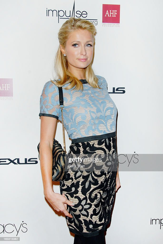 Socialite <a gi-track='captionPersonalityLinkClicked' href=/galleries/search?phrase=Paris+Hilton&family=editorial&specificpeople=171761 ng-click='$event.stopPropagation()'>Paris Hilton</a> arrives at OUT Magazine's celebration of LA fashion week with launch of Out Fashion presented by Lexus at Pacific Design Center on March 7, 2013 in West Hollywood, California.