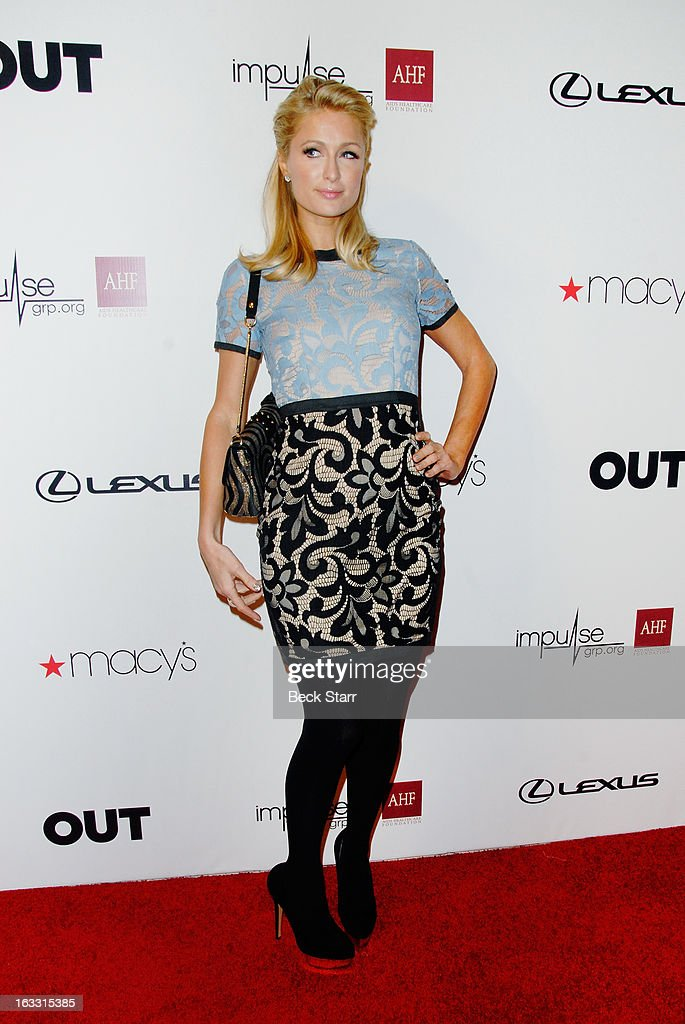 Socialite Paris Hilton arrives at OUT Magazine's celebration of LA fashion week with launch of Out Fashion presented by Lexus at Pacific Design Center on March 7, 2013 in West Hollywood, California.