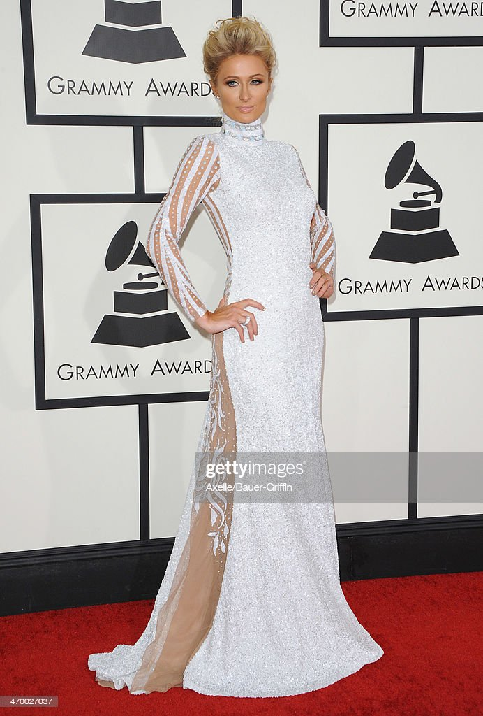 Socialite Paris Hilton arrives at the 56th GRAMMY Awards at Staples Center on January 26, 2014 in Los Angeles, California.