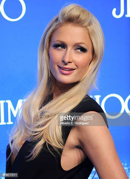 Socialite Paris Hilton arrives at the Jimmy Choo for HM Collection private event in support of the Motion Picture Television Fund on November 2 2009...