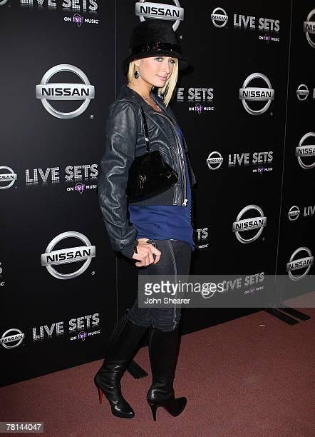 Socialite Paris Hilton arrives at the Nissan Live Sets on Yahoo Music Anniversary Celebration at FOX Studios Lot on November 27 2007 in Century City...