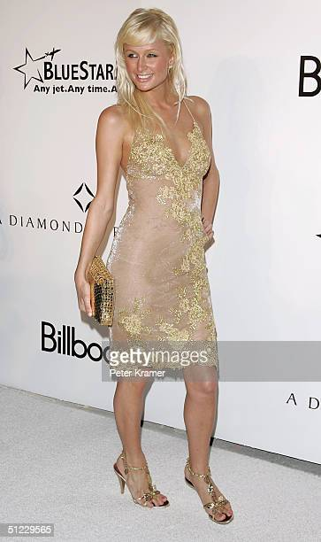 Socialite Paris Hilton arrives at the Rock Solid Diamonds on Ice party at the Delano Hotel August 27 2004 in Miami Florida