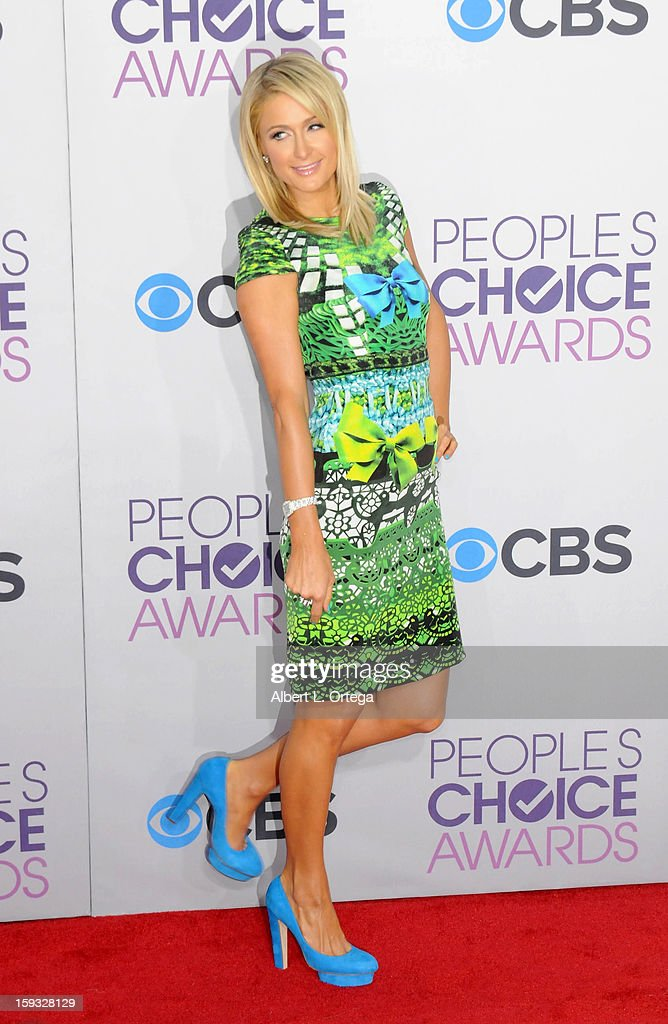 Socialite Paris Hilton arrives for the 34th Annual People's Choice Awards - Arrivals held at Nokia Theater at L.A. Live on January 9, 2013 in Los Angeles, California.