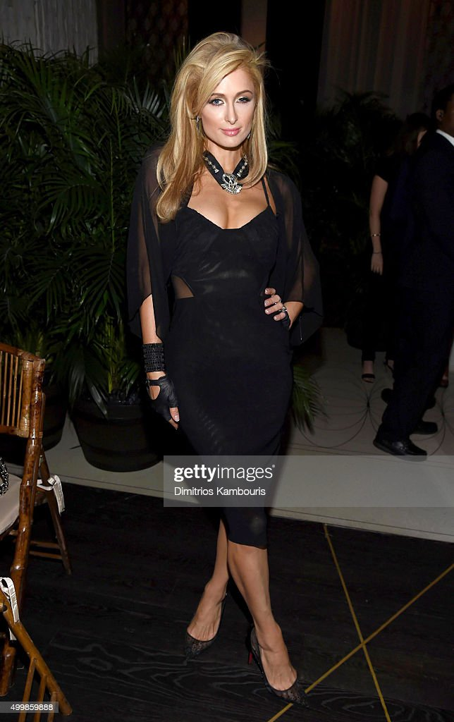 Socialite Paris Hilton attends Aby Rosen and Samantha Boardman host their Annual Dinner at The Dutch W Hotel South Beach on December 3 2015 in Miami...