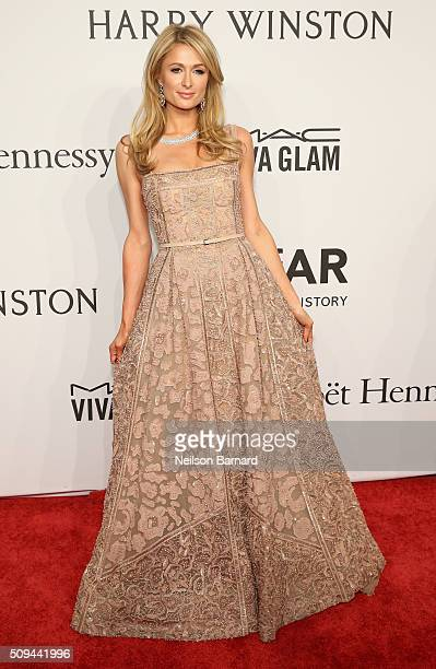 Socialite Paris Hilton attends the 2016 amfAR New York Gala at Cipriani Wall Street on February 10 2016 in New York City