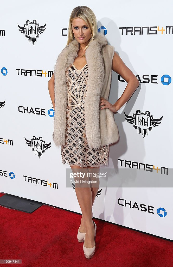 Socialite Paris Hilton attends the 2nd Annual will.i.am TRANS4M Boyle Heights benefit concert at Avalon on February 7, 2013 in Hollywood, California.
